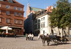 Castle square in Warsaw, Poland - sightseeing hansom. Castle Square in the historical center of Warsaw, Poland. From the tower of the St. Anna Church stock photos