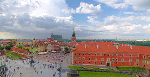 Castle Square in Warsaw, Poland. This is very large panoramic picture of Old Town in Warsaw Royalty Free Stock Photography
