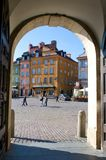 Castle square in Warsaw, Poland - view from gate Royalty Free Stock Photo