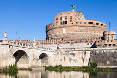 Castle of the St Angel and bridge in Rome city Royalty Free Stock Images