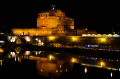 Castle St. Angel in Rome by night Stock Images