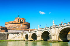 Castle St Angelo and bridge in Rome, Italy. Royalty Free Stock Photos