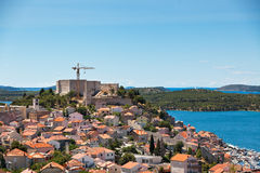 Castle of St. Anna in reconstruction and view of Sibenik Royalty Free Stock Photos