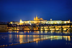Castle and the St. Charles Bridge Royalty Free Stock Photos