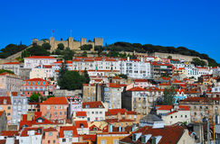 Castle of st. Jeorge. Aerial view on the roofs of Lisbon houses with the castle of saint Jeorge Royalty Free Stock Photo