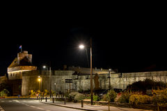 Castle of St Malo. Castle of St-Malo and its defensive wall at night in Brittany, France Royalty Free Stock Image