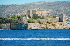 Castle of St. Peter in Bodrum. Mighty fortification walls of the castle of St. Peter in the turkish town of Bodrum Stock Images
