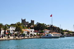 Castle of St. Peter in Bodrum and yachts. View to Bodrum castle , yachts and sea Stock Images