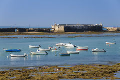 Castle of St Sebastian and bay of Cadiz, Spain Royalty Free Stock Image