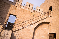 Castle staircase. Detail take of a staircase climbing to the battlements of a castle Royalty Free Stock Images