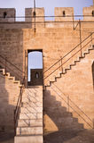 Castle staircase. Detail take of a staircase climbing to the battlements of a castle Stock Photo