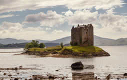 The Castle Stalker, Highlands, Scotland, United Kingdom. Castle Stalker Scottish Gaelic: Caisteal an Stalcaire is a four-story tower house or keep picturesquely Royalty Free Stock Photo