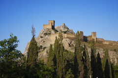 Castle stands high in the mountains Stock Photography