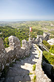 Castle steps. High steps with ancient walls of Moorish Castle Stock Image
