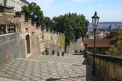 The castle steps in the city of  Prague. Royalty Free Stock Photos