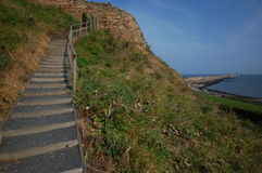 Castle steps at Tynemouth Stock Photos
