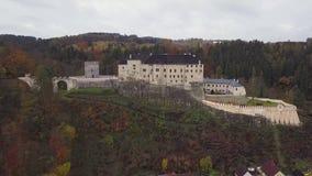 Castle Sternberk in Czech Republic - aerial view stock footage