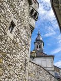 Castle of Stolberg exterior wall close view, Church of St. Lucia tower in the background, in Stolberg, Germany. Castle of Stolberg exterior wall close view royalty free stock photo