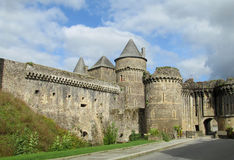 Castle stone wall and tower in France Stock Images