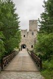 Castle Strecno with bridge stock photo
