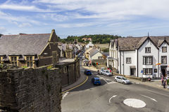 Castle Street, Conwy, north Wales. An image taken from Conwy Castle walls looking down Castle Street, Conwy, north Wales Stock Image