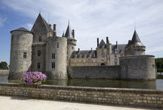 Castle Sully. Sur Loire, France, with violet flowers in front of  water moat Royalty Free Stock Images