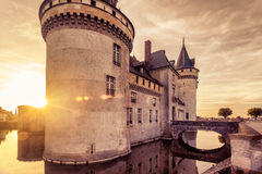 The castle of Sully-sur-Loire at sunset, France Stock Image