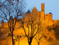 Castle in sunset.  Carcassonne Royalty Free Stock Images