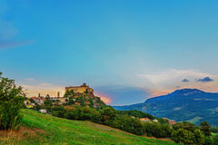 Castle at sunset. Castle on a clif at golden hour Royalty Free Stock Image