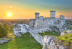 Castle at sunset, Ogrodzieniec fortifications, Poland. Royalty Free Stock Photography