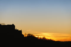 Castle Sunset Silhouette Stock Images