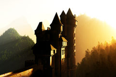 Castle Sunset Sunrise in the Mountains 3D render Stock Image