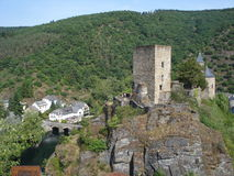 Castle in the surrounding of  Es ch-sour-Sure in Luxembourg Stock Photo