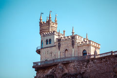 The castle Swallow's Nest on the rock. In the Black Sea in Crimea, Russia Royalty Free Stock Image