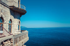 The castle Swallow's Nest on the rock. In the Black Sea in Crimea, Russia Royalty Free Stock Images