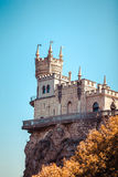 The castle Swallow's Nest on the rock. In the Black Sea in Crimea, Russia Royalty Free Stock Photos
