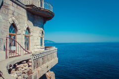 The castle Swallow`s Nest on the rock. In the Black Sea in Crimea, Russia Royalty Free Stock Images