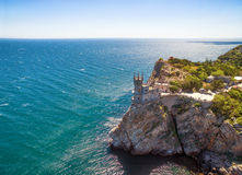The castle Swallow's Nest on the rock in Crimea. The famous castle Swallow's Nest on the rock in the Black Sea, Russia. This castle is a symbol of Crimea royalty free stock photography