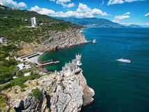 Castle Swallow's Nest on the rock in Crimea. The famous castle Swallow's Nest on the rock in the Black Sea, Russia. This castle is a symbol of Crimea royalty free stock photos