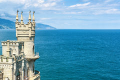 Castle Swallow's Nest on the rock in Crimea. The famous castle Swallow's Nest on the rock in the Black Sea, Russia. This castle is a symbol of Crimea royalty free stock image