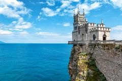 Castle Swallow`s Nest on the rock in Crimea. The castle Swallow`s Nest on the rock over the Black Sea in Crimea, Russia. This castle is a symbol of Crimea royalty free stock images