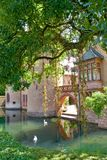 Castle with swan lake, Europe Royalty Free Stock Photography