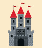 Castle tale with red roof and flags Stock Image