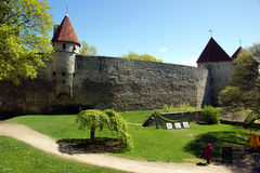 Castle in tallin. Medieval fortress with walls in Tallin Royalty Free Stock Image