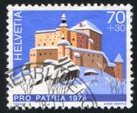 Castle Tarasp. SWITZERLAND - CIRCA 1978: stamp printed by Switzerland, shows castle Tarasp, circa 1978 stock image