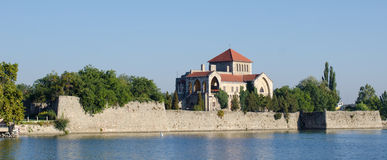 The castle of Tata. Castle of Tata and the Old lake. Historical city in Hungary Stock Photo