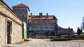 Castle in Tata, Hungary in a sunny summer day royalty free stock photo