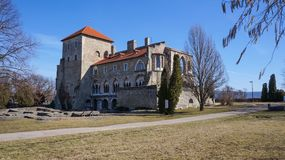 Tata,Hungary,04,03,2017 Castle in Tata, begins the tourist season stock image