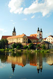 Castle of Telc, Czech Republic. Castle of Telc, Southern Moravia, The Czech Republic, reflected in lake that surrounds it Royalty Free Stock Photos