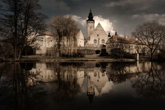 Castle in Telc, South Bohemia, Czech Republic. View of the chateau across the lake in Telc, South Bohemia, Czech Republic Stock Photography